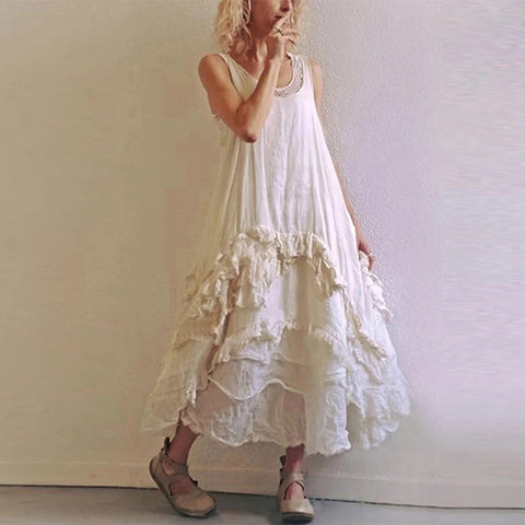 V-neck vest pleated cake dress
