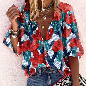 Casual A Lapel Bracelet Sleeve Printed Colour Loose Blouse