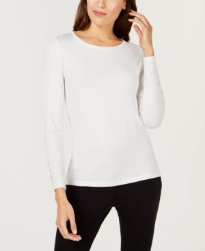 Alfani Long-Sleeve Ruched Top-Ivory