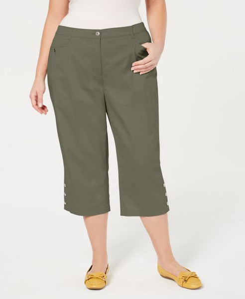 Karen Scott Plus Size Button-Cuff Capri Pants , Green