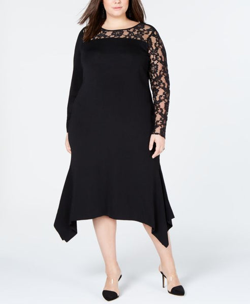 I.N.C. Plus Size Lace-Inset Sweater Dress, Black, Size: 1X