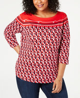 Charter Club Plus Size Cotton Border-Print Top , Red