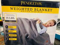 "Pendleton Quilted Weighted Blanket 48"" X 72"" Gray 15 Lbs"