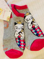 Xhilaration Low Cut Socks Size 4-10 Kitty Cats Themed W/ Tags Heather Grey