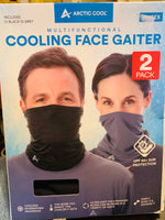 Arctic Cool Multifunctional Cooling Face Gaiter Upf 50+ 2 Pack Black & Grey open box