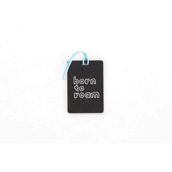 Path Luggage Tag - Born to Roam, Black/White