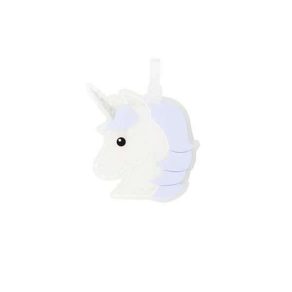 Path Travel Unicorn Luggage Tag, Black/White