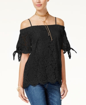 Miss Chievous  Women's Lace Off the Shoulder Adjustable Strap Top