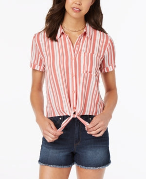 Hippie Rose Juniors' Striped Tie-Front Camp Shirt M