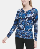 Calvin Klein Floral-Print Keyhole Hardware Top S