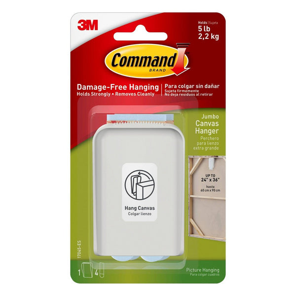 Command Jumbo Canvas Hanger (1 Hook 4 Large Strips) White