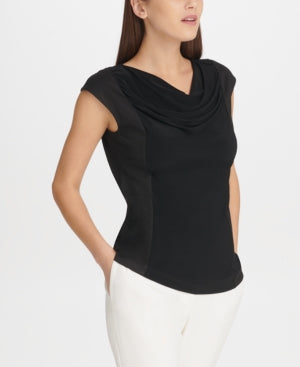 Dkny Crewneck Draped Top LARGE