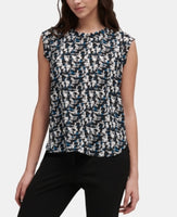 Dkny Printed Flutter-Sleeve Top M