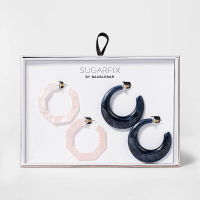 SUGARFIX by BaubleBar Resin Hoop Earring Gift Set - Blue/Pink/Iridscent