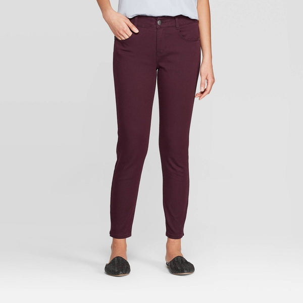 Knox Rose Women's Mid-Rise Skinny Pants - Burgundy 8