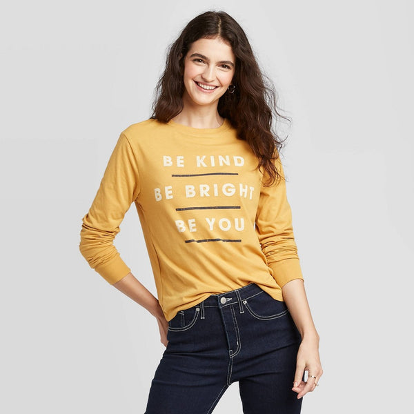 Zoe+Liv Women's Be kind Be Right Be You Long Sleeve Graphic T-Shirt (Juniors')-Yellow