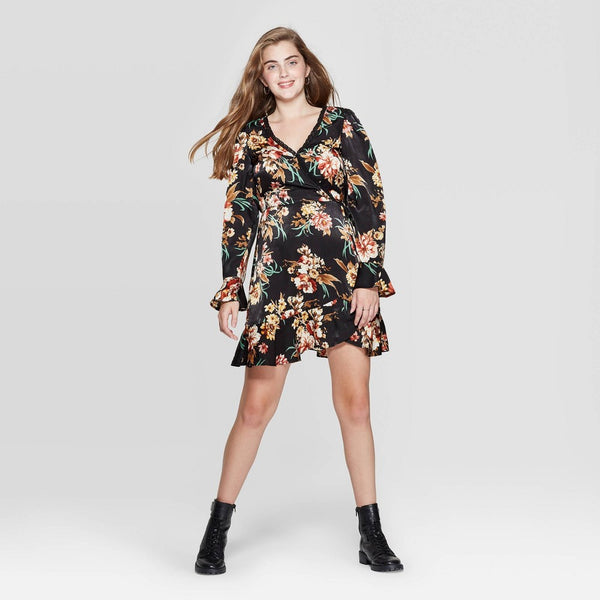 Women's Floral Print Long Sleeve Deep V-Neck Lace Trim Satin Wrap Mini Dress- Multicolored