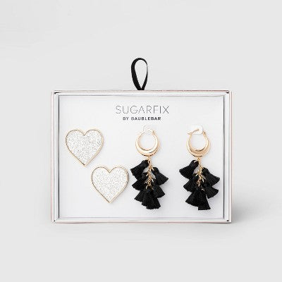 SUGARFIX by BaubleBar Whimsical Statement Earring Gift Set - Silver Glitter/Black