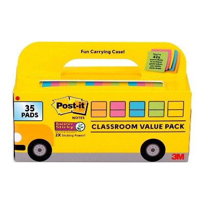 Post-it 35pk Super Sticky Notes Classroom Value Pack