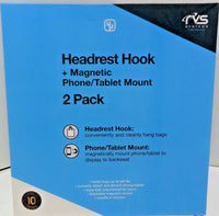 Rvs Headrest Hook With Magnetic Phone & Tablet Mount 2 Pack