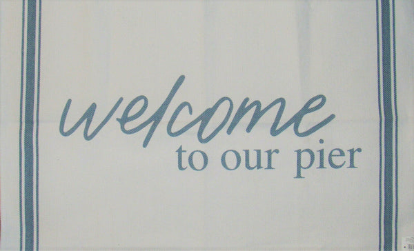 "Welcome to Our Pier"" White Blue 32"" x 21"" Home Decor Rug"