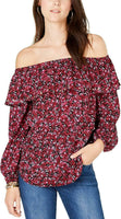 MICHAEL Michael Kors Womens Printed Studded Blouse