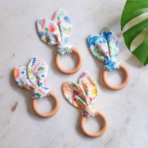 Bunny Ear Beech Wood Teething Ring