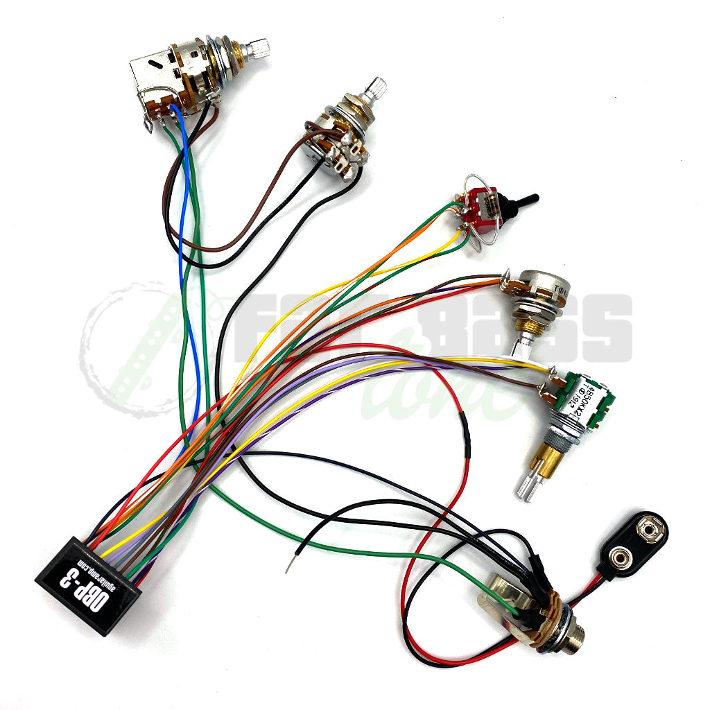 View of Prewired Aguilar-OBP3 3 Band 2 Pickup 4 Knob, 1 Switch (Vpp-Bl-T/B-Msw)