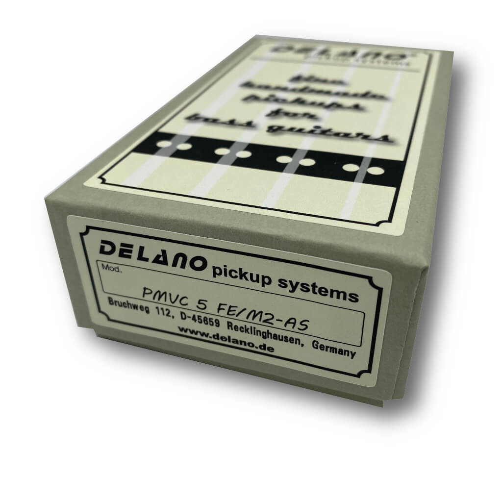 View of Packaging of Delano PMVC5 FE/M2-AS 5 String Precision Bass® Pickup for Fender® American Standard®