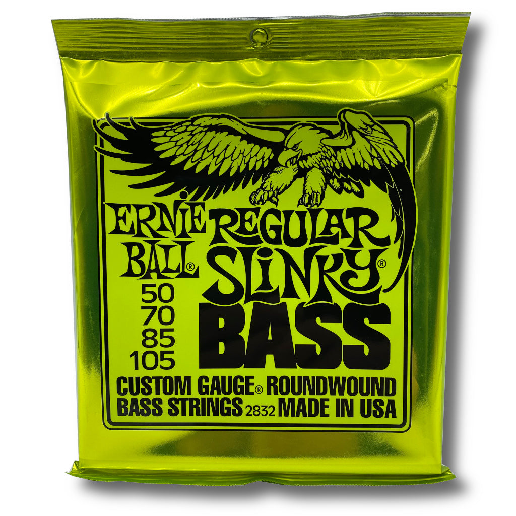 View of Packaging of Ernie Ball 2832 Regular Slinky 4 String Set for Bass Guitar