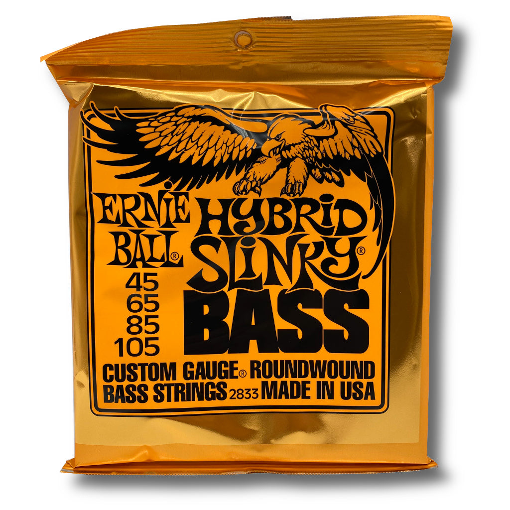 View of Packaging of Ernie Ball 2833 Hybrid Slinky 4 String Set for Bass Guitar