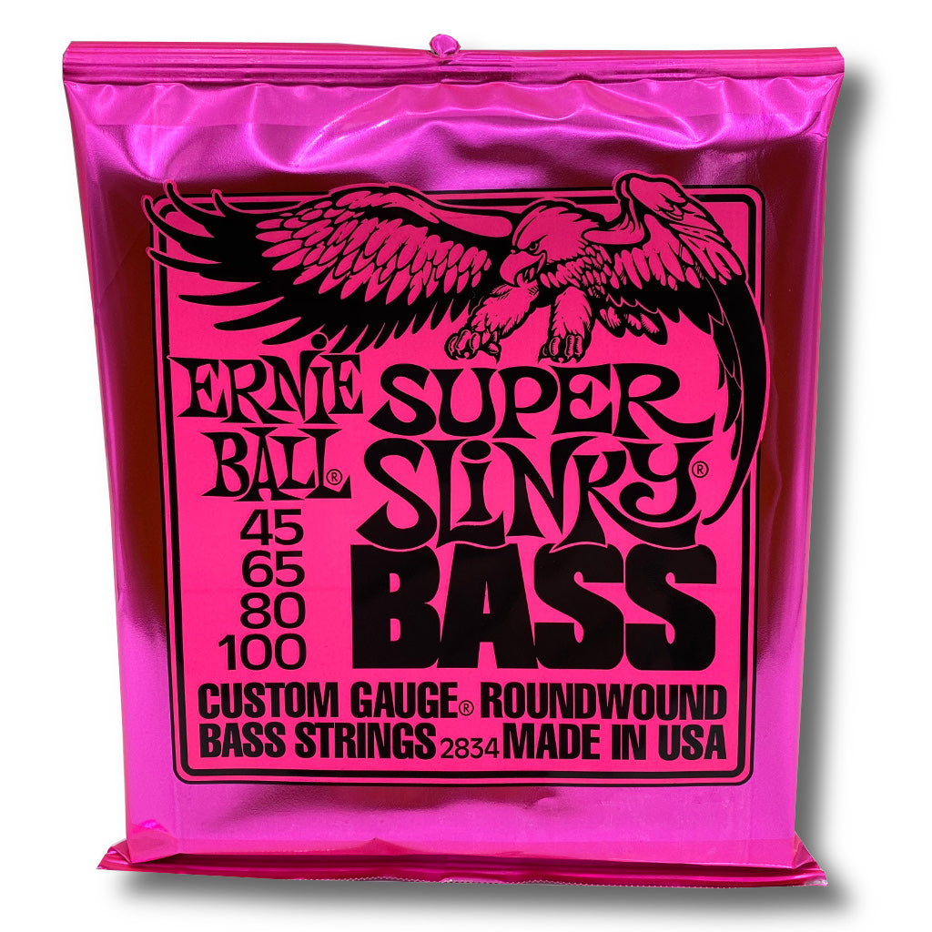 View of Packaging of Ernie Ball 2834 Super Slinky 4 String Set for Bass Guitar