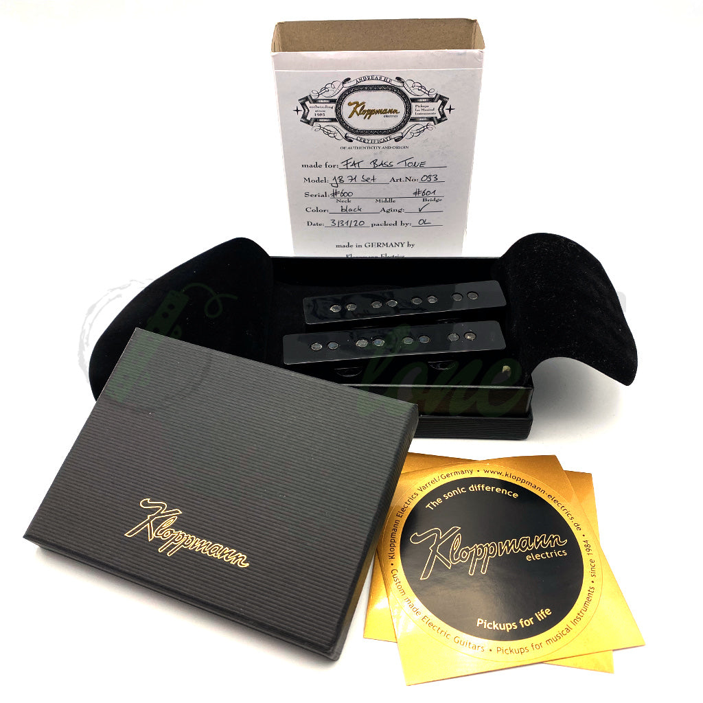 View of Pickups and Packaging for Kloppmann JB71 4 String Jazz Bass® Pickups