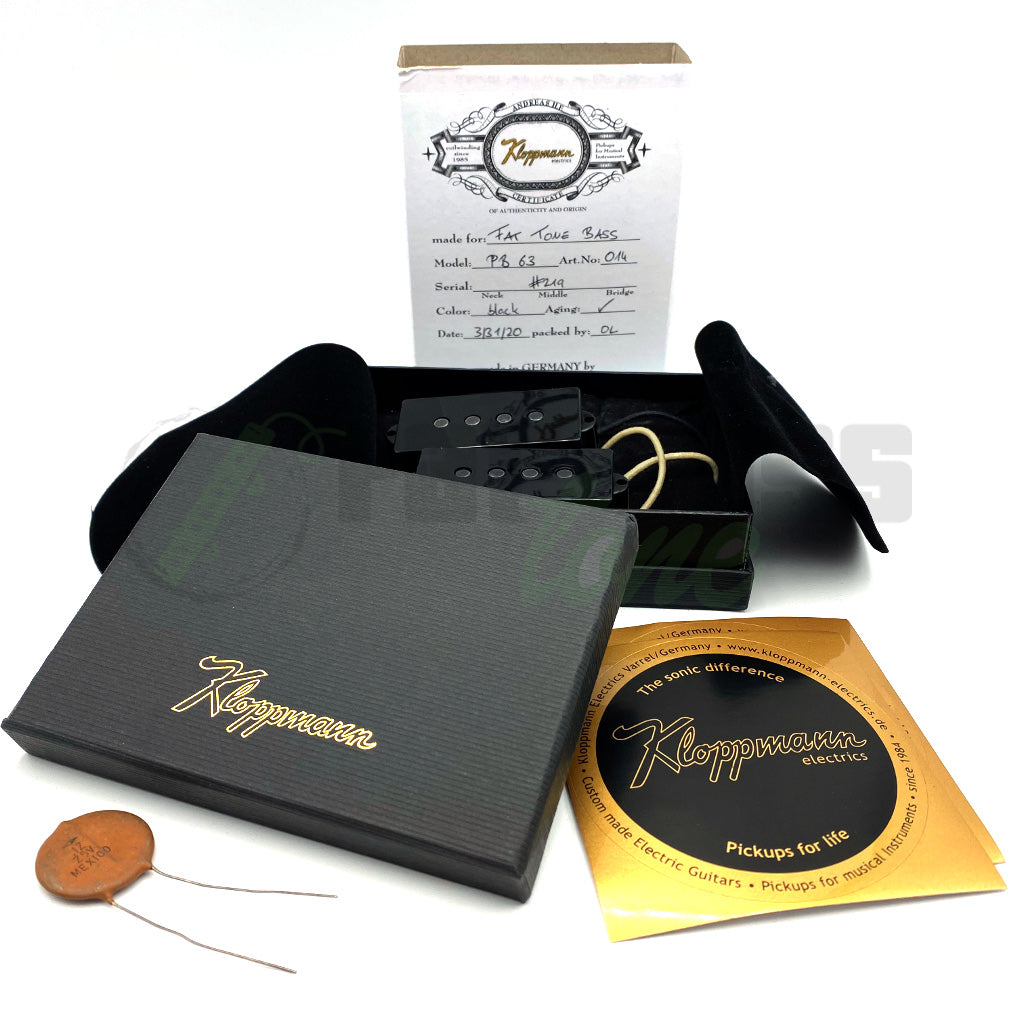 View of Packaging and Pickups for Kloppmann PB63 4 String Precision Bass® Pickup