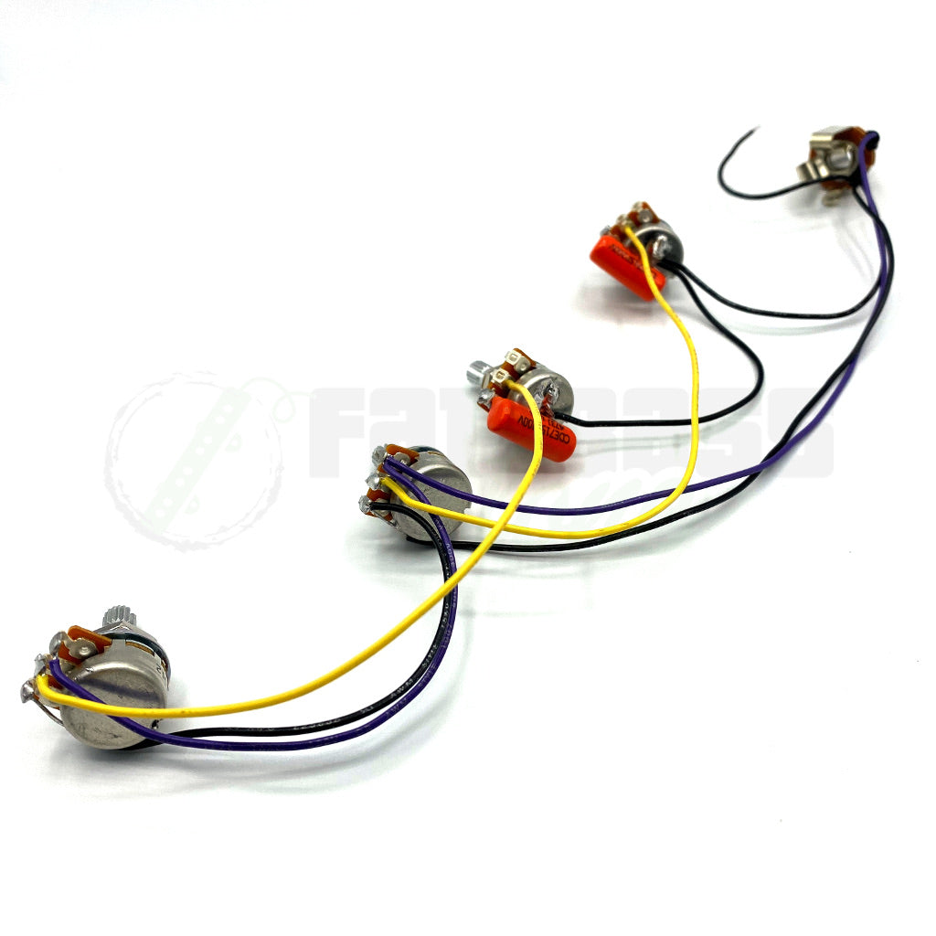 Pre-Wired Passive Harness for Bass Guitar (Volume-Volume-Tone-Tone)
