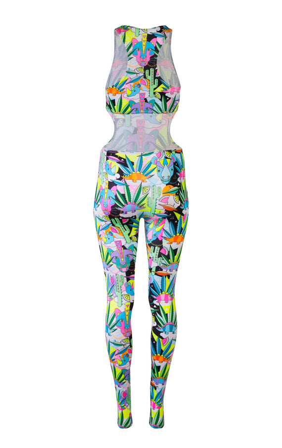 COSMIC CACTUS HOUSE OF SPANGLED PRINT CUTOUT BODYSUIT