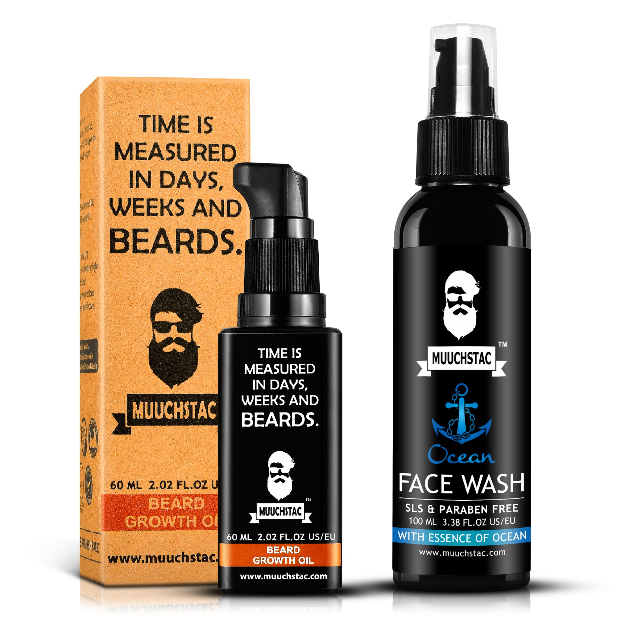 Muuchstac Men's Beard Growth & Face Care Kit - Ayurvedic Beard Growth Oil, 60ml & Ocean Face Wash, 100ml