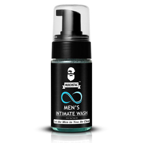 Muuchstac Men's Intimate Wash, Reduces Itching & Foul Odor from Private Parts, Antibacterial, Keeps the pH balance perfect, No SLS, Silicone and Paraben, Tea Tree Oil, 110 ml.
