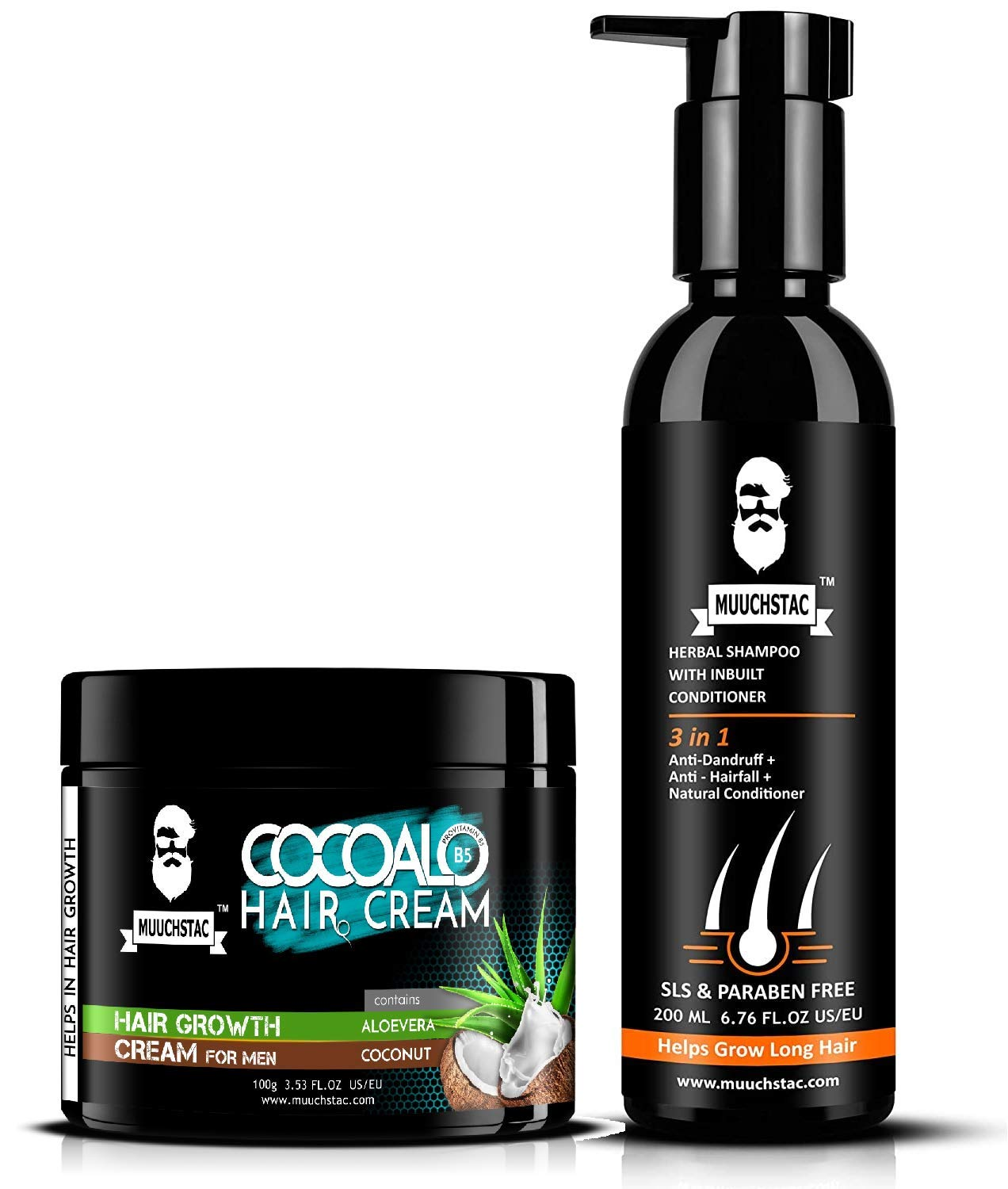 Muuchstac Cocoalo Hair Cream and Herbal Shampoo with Inbuilt Conditioner - 300 ml - Hair Care Set - Pack of 2