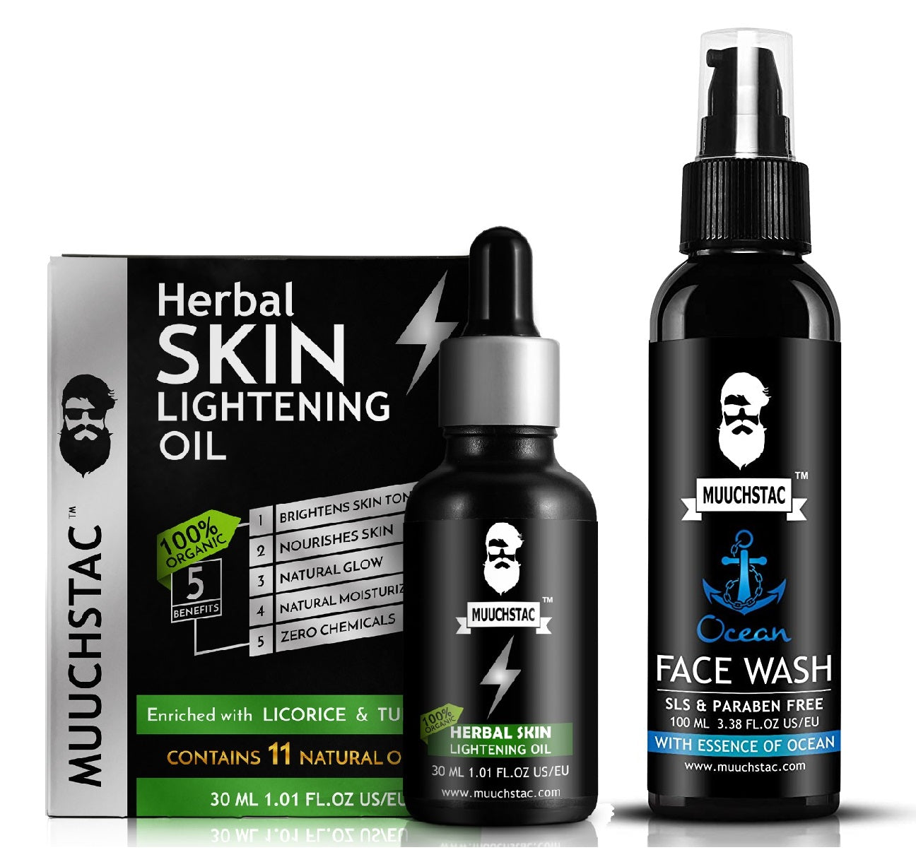 Muuchstac Herbal Skin Lightening Oil and Ocean Face Wash - Skin Lightening Kit (130ml) - Pack of 2