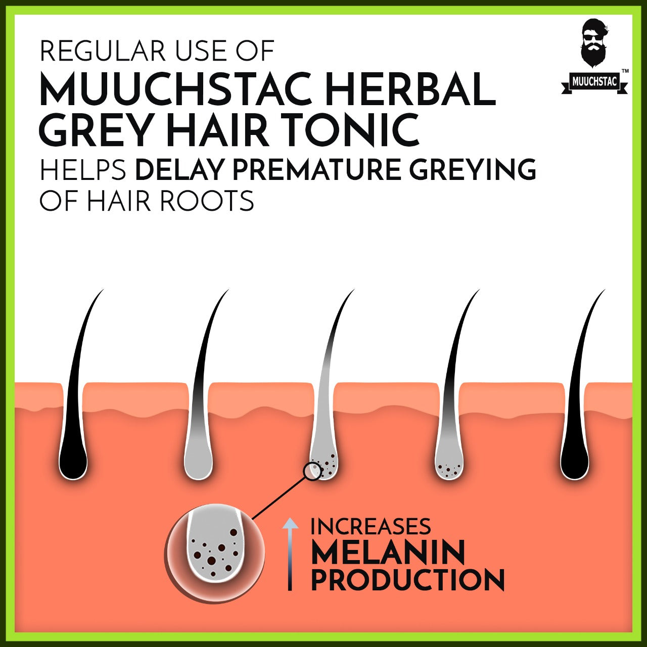 Muuchstac Herbal Grey Hair Tonic, 100 ml, helps delay premature Greying of Hair Root
