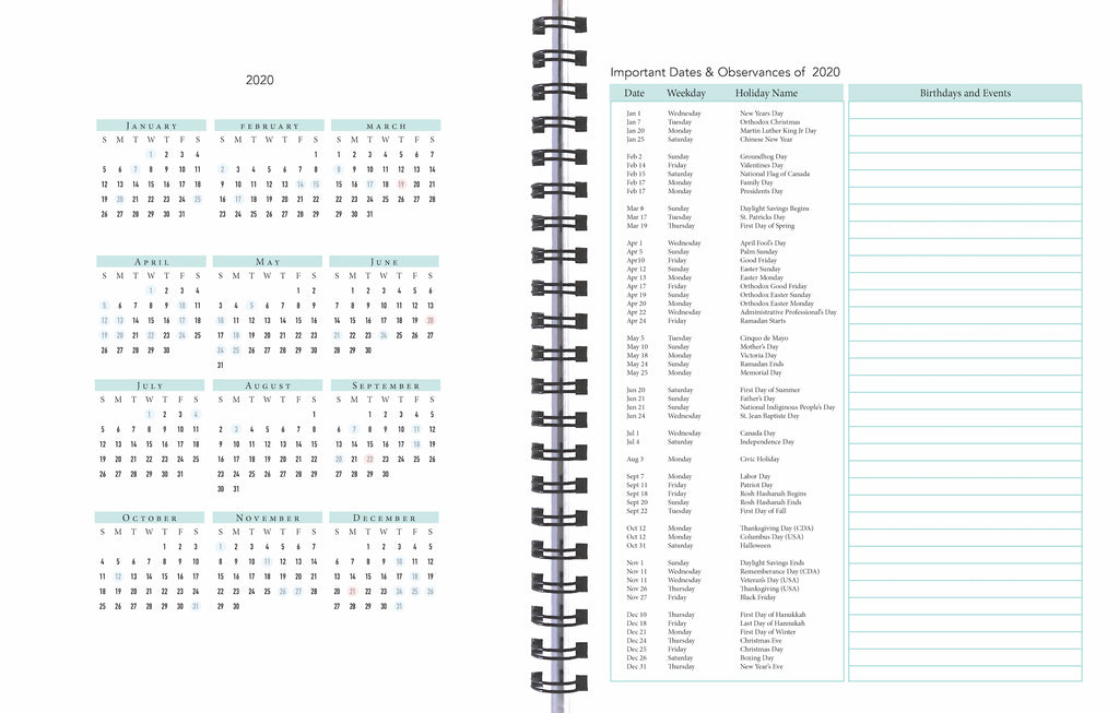 Important dates and observances, 2020 Life By Design Planner, women's edition,  12 months