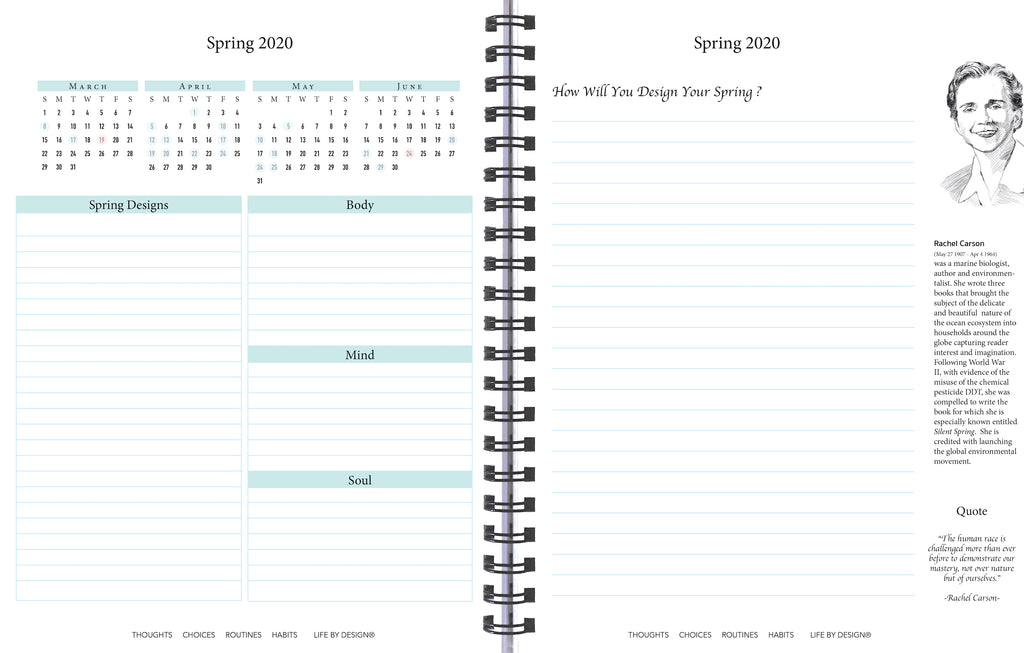 quarterly planning section, 2020 Life By Design Planner, Rachel Carson biography