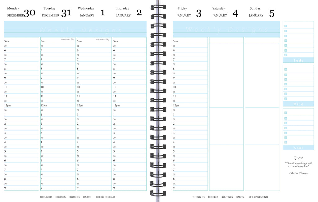 weekly view, 2020 Life By Design Planner, 12 months