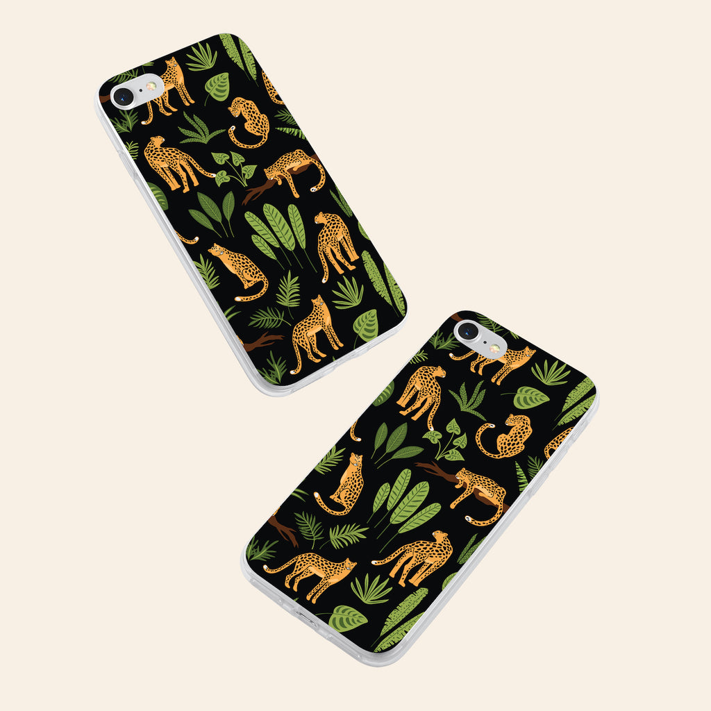 iPhone 7 case with Jaguar Jungle design made by Life By Design Creations both sides view