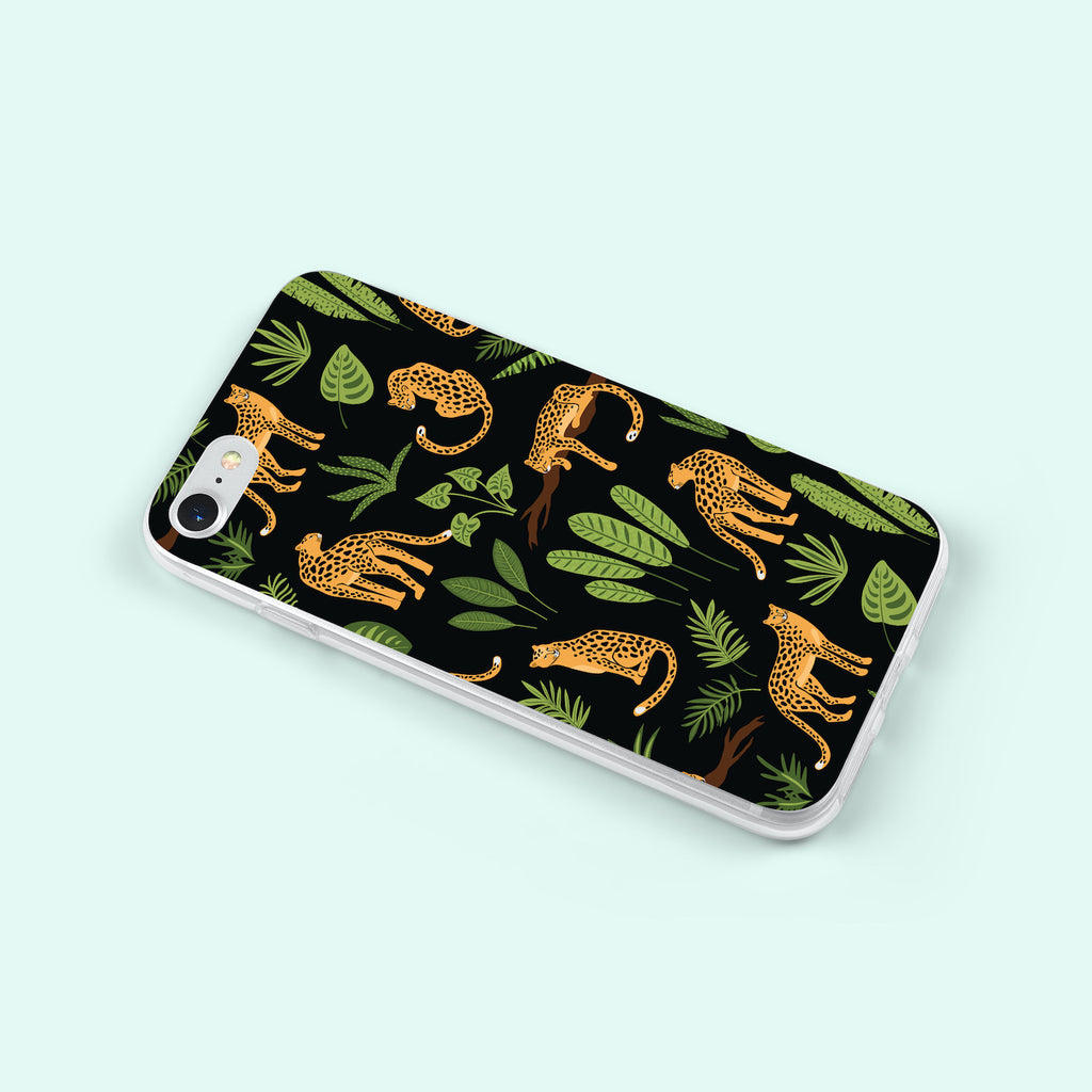 iPhone 7 case with Jaguar Jungle design made by Life By Design Creations left side view