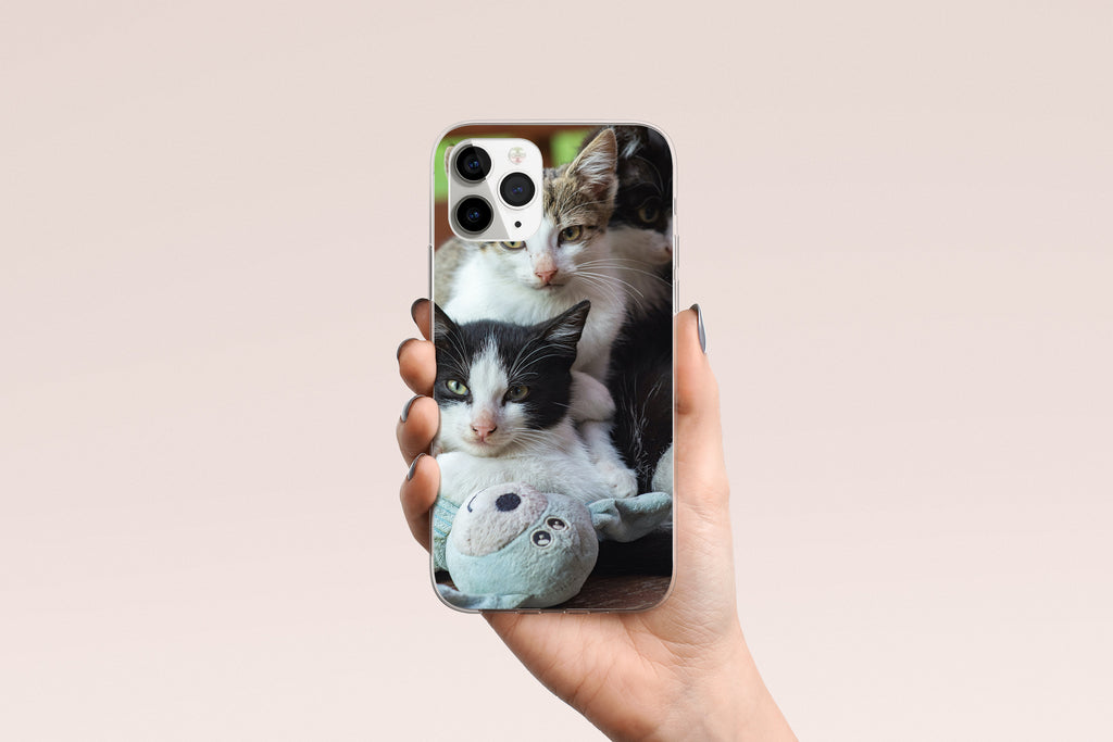 iPhone 11 Pro Max case with  Cozy Kittens design made by Life By Design Creations hand held view