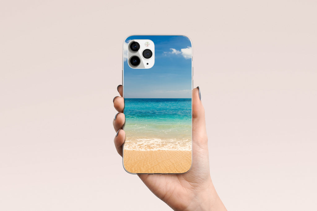 iPhone 11 Pro Max case with Beach and Ocean  design made by Life By Design Creations hand held view