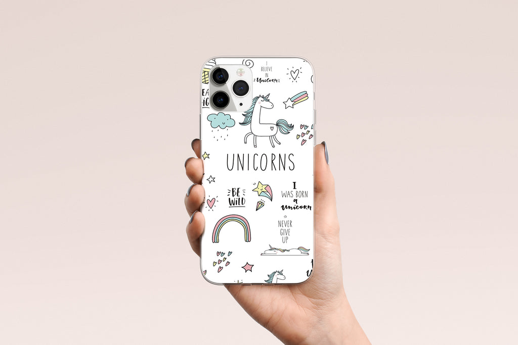 iPhone 11 Pro Max case with  Unicorn Power design made by Life By Design Creations hand held view