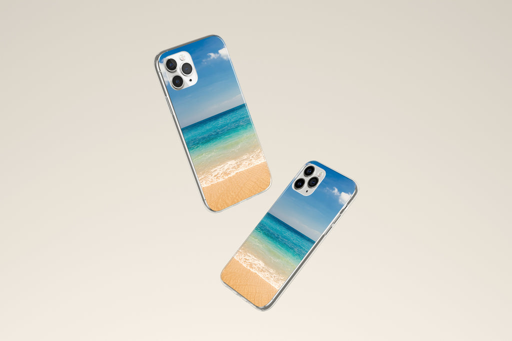 iPhone 11 Pro case with Beach and Ocean design made by Life By Design Creations both sides view